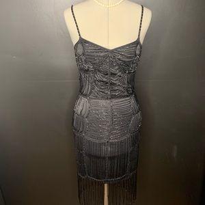 Sue Wong Beaded Flapper Cocktail Dress
